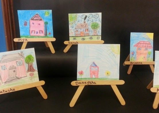 miniature drawings on craft stick art easels