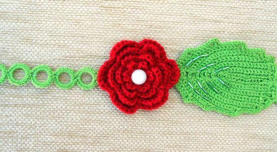 Crochet flower head band by Pamphylian on Etsy, $12.00