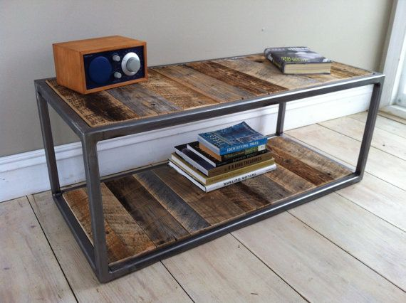 Modern Industrial Wood Steel Bricklayer 39 S Style Coffee Table Featuring Reclaimed Barnwood 20