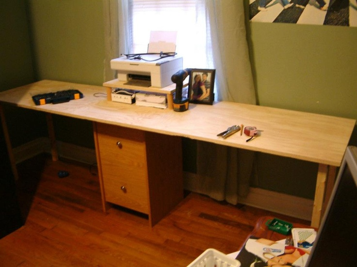 diy desk made from a filing cabinet plywood 2x2 39 s and lots of screws