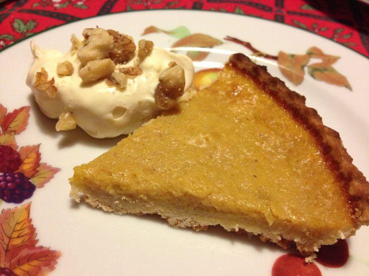 Pumpkin pie with maple syrup and walnut cream #autumnalpudding # ...