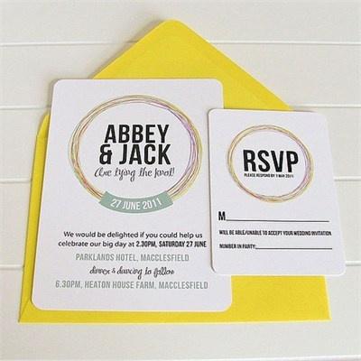 Love knot wedding invitation amp rsvp card