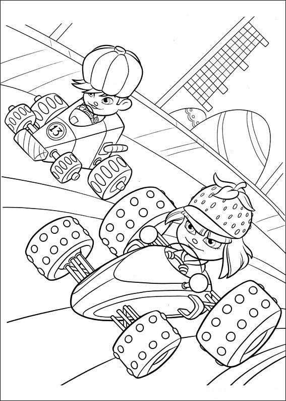 Wreck it ralph sugar rush characters coloring page