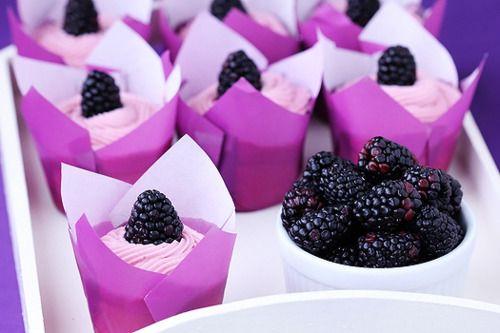 Lemon-blackberry cupcakes.