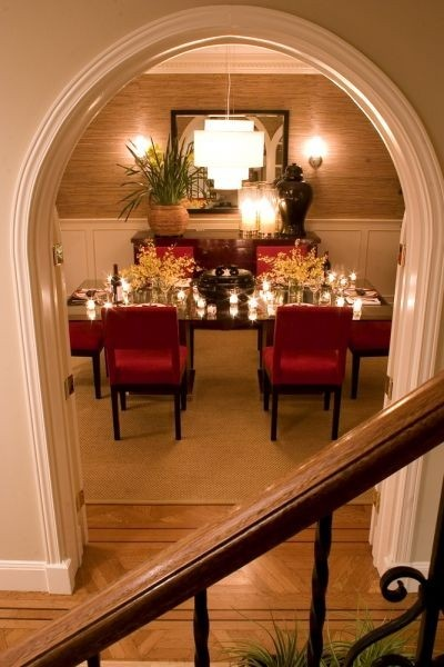 Dining room with red accent chairs Dining Rooms