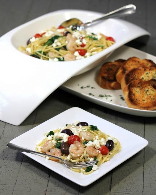 Greek Pasta with Shrimp Tomato and Kalamata Olives | Recipe