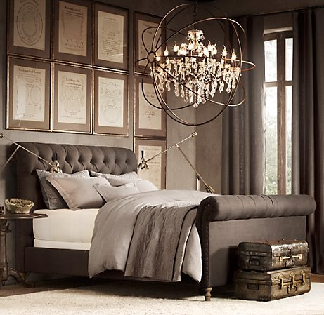 tufted sleigh bed