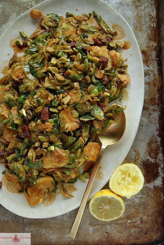 Shredded Brussels Sprouts with Chorizo and Paprika | Heather Christo