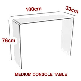 Glass console table large clear living dining bent end for 100 table height