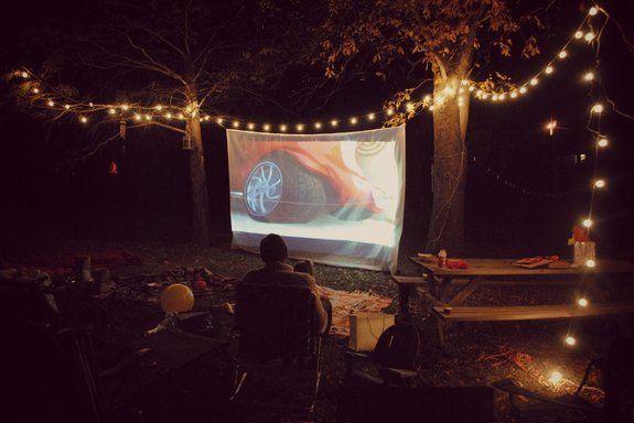 Backyard Movie Night Party : Backyard Movie Night! (Create a movie screen for $10!)