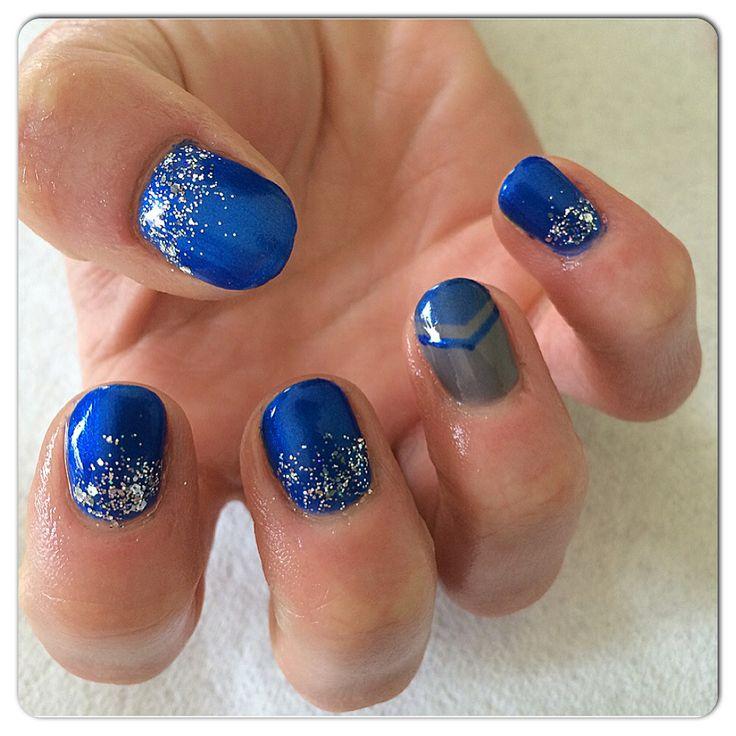 Shellac~Blue with nail design Nail art | Nails | Pinterest