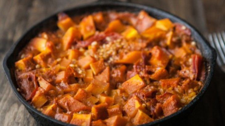 Curried Butternut Squash With Brown Chickpeas Recipe — Dishmaps