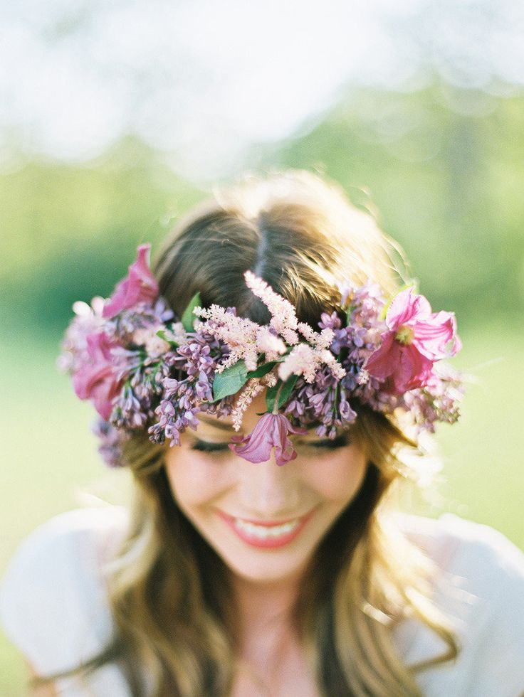 Whimsical floral crown  Photography: Ryan Ray Photography - ryanrayphoto.com Floral Design: Bows and Arrows - bowsandarrowsflowers.com/  View entire slideshow: 20 Fresh Flower Hairstyles for Spring + Summer on http://www.stylemepretty.com/collection/271/