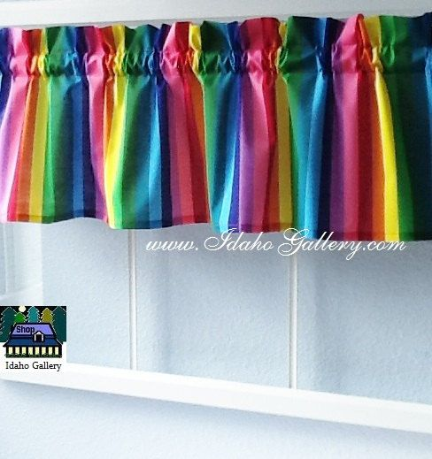 Rainbow bright colorful window treatment childs room for Cortinas transparentes