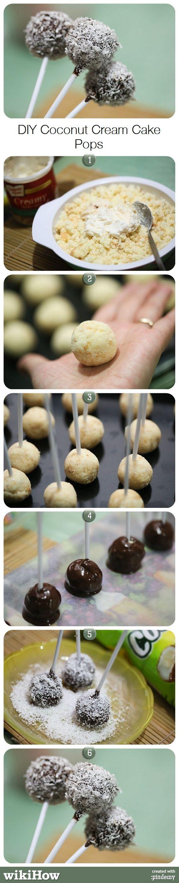 DIY Coconut Cream Cake Pops via pindemy.com