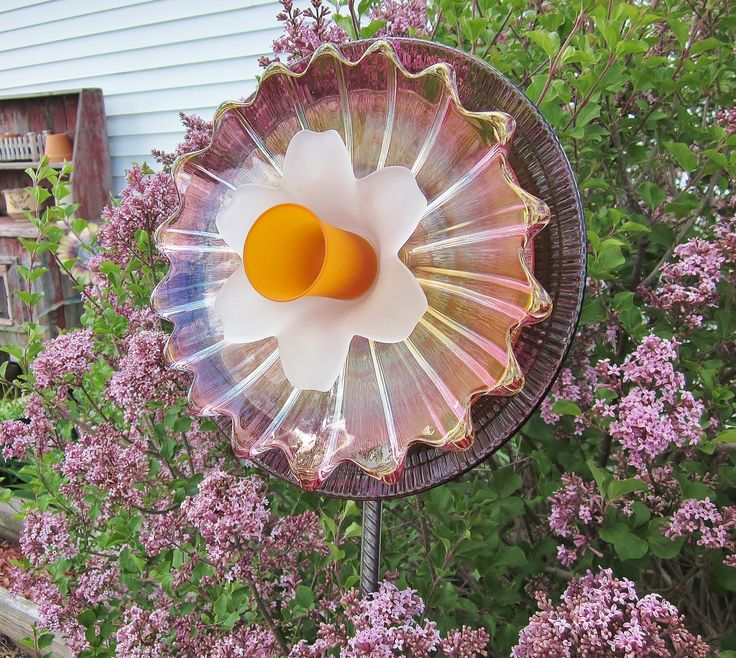 Colorful glass garden yard art outdoor decor upcycled for Recycled yard decorations