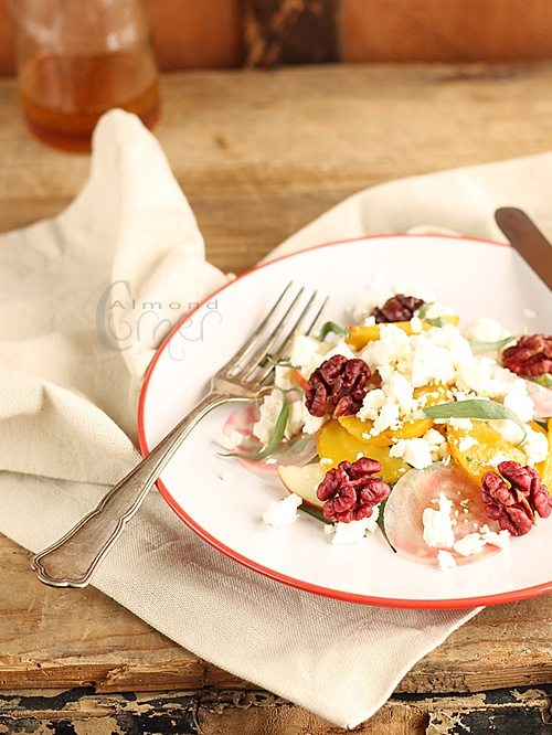 Yellow Beet Salad with Tarragon, Feta Cheese and Red Walnuts