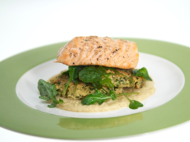Olive Oil-Poached Salmon with Dijon Apple Puree and Couscous Cake | R ...