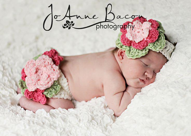 Crochet A Flowers Diaper Cover Pattern : pattern132- fancy flower diaper cover and headband set ...