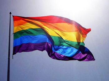 gay pride rainbow flag <3 im not gay lesbian or bi, but i know alot of people and have many friends that are. LGBT <3