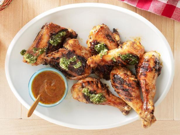 Guy's Chipotle-Mango Barbecue Chicken With Cilantro Chimichurri #ChickenRecipe #Chimichurri