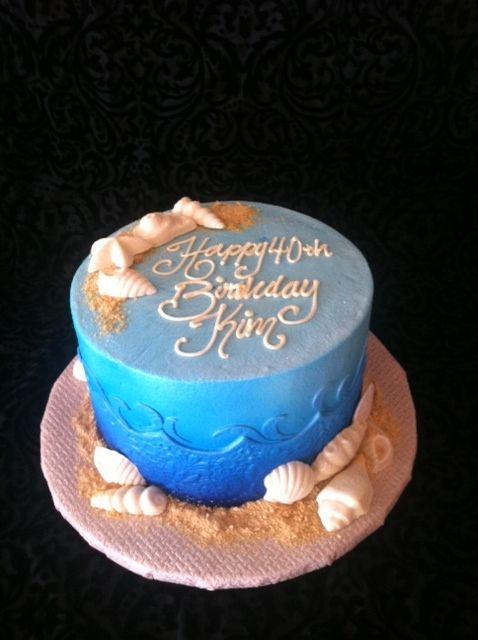 Seashell and Ocean Birthday Cake. Blue Cake. Shells cake ...