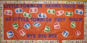 toddler handprint & footprint bulletin board