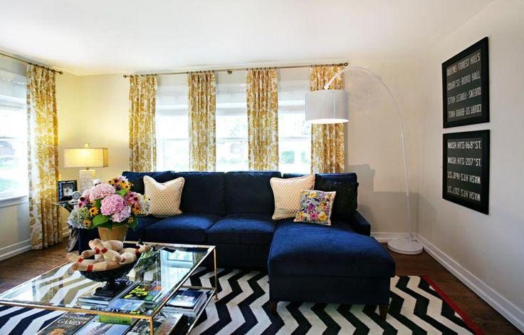 navy blue sofa with yellow curtain I love colors amp decor  : a0e379cb9b9bcda770a7adf15f9c65d8 from pinterest.com size 736 x 470 jpeg 63kB