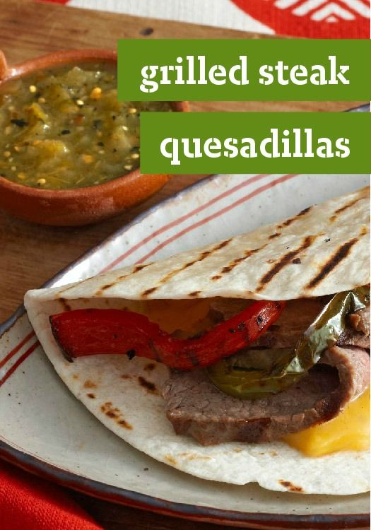 steaks give these grilled quesadillas their hearty appeal. The cheese ...