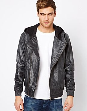 Selected Leather Jacket With Hood