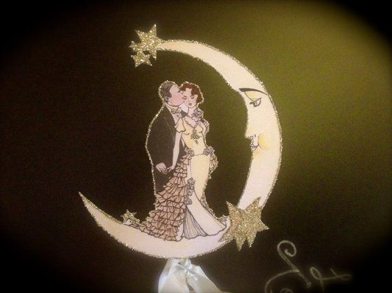Art Deco Moon Cake Topper : Redhead Bride Wedding Cake Topper - Art Deco Inspired ...