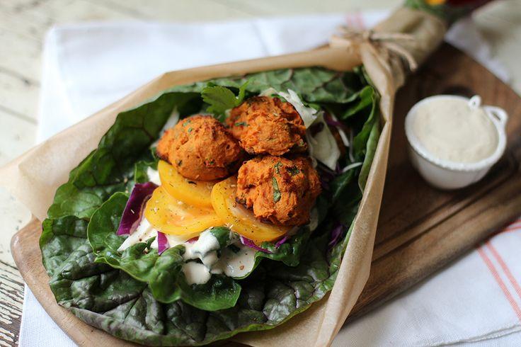 Roasted Sweet Potato Falafel Wraps with Garlic Tahini Sauce // Vidya ...