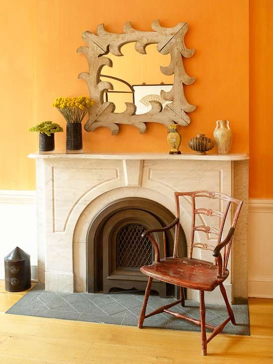Brown accents help tone down the brightness of these bold walls.
