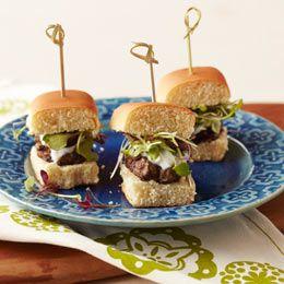 Mini-Greek burgers...looks like a good party item