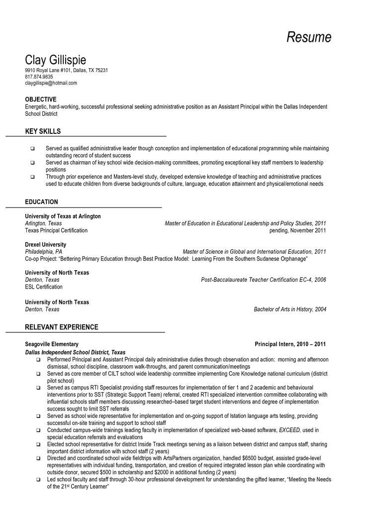 School principal resume sample