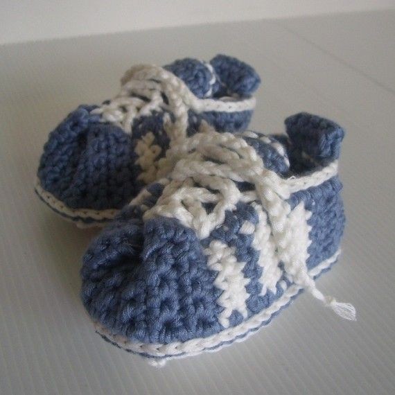 Crochet Stitches Baby Shoes : CROCHET PATTERN 3Stripe Baby Tennis Shoes by hollanddesigns, $4.99