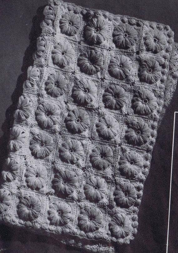 Vintage Crochet Patterns Baby Blankets : PDF Crocheted Baby Blanket Field of Flowers Vintage ...