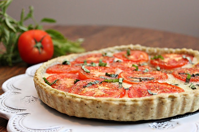 Tomato Tart with Basil Garlic Crust | On the flip Sides... | Pinterest