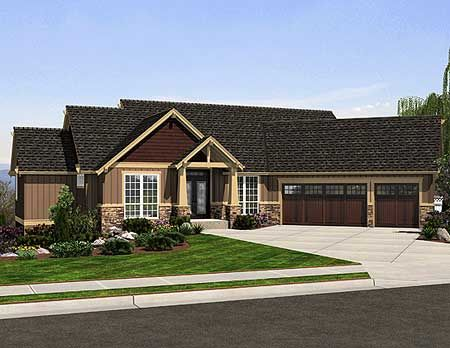 Corner Lot Craftsman Ranch Northwest House Plans Home Designs