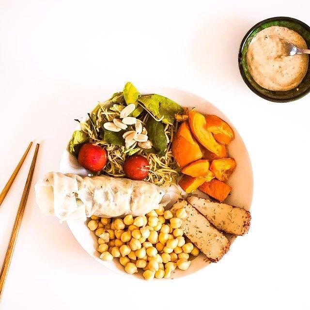 vegan lunch: Homemade spring roll + chickpeas + smoked tofu + radishes ...