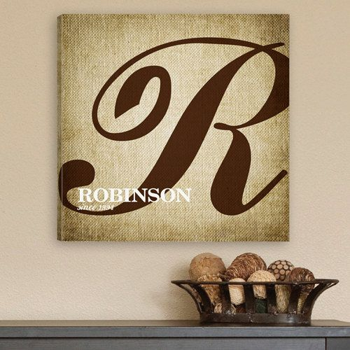 personalized caligraphy monogrammed canvas wall art. Black Bedroom Furniture Sets. Home Design Ideas