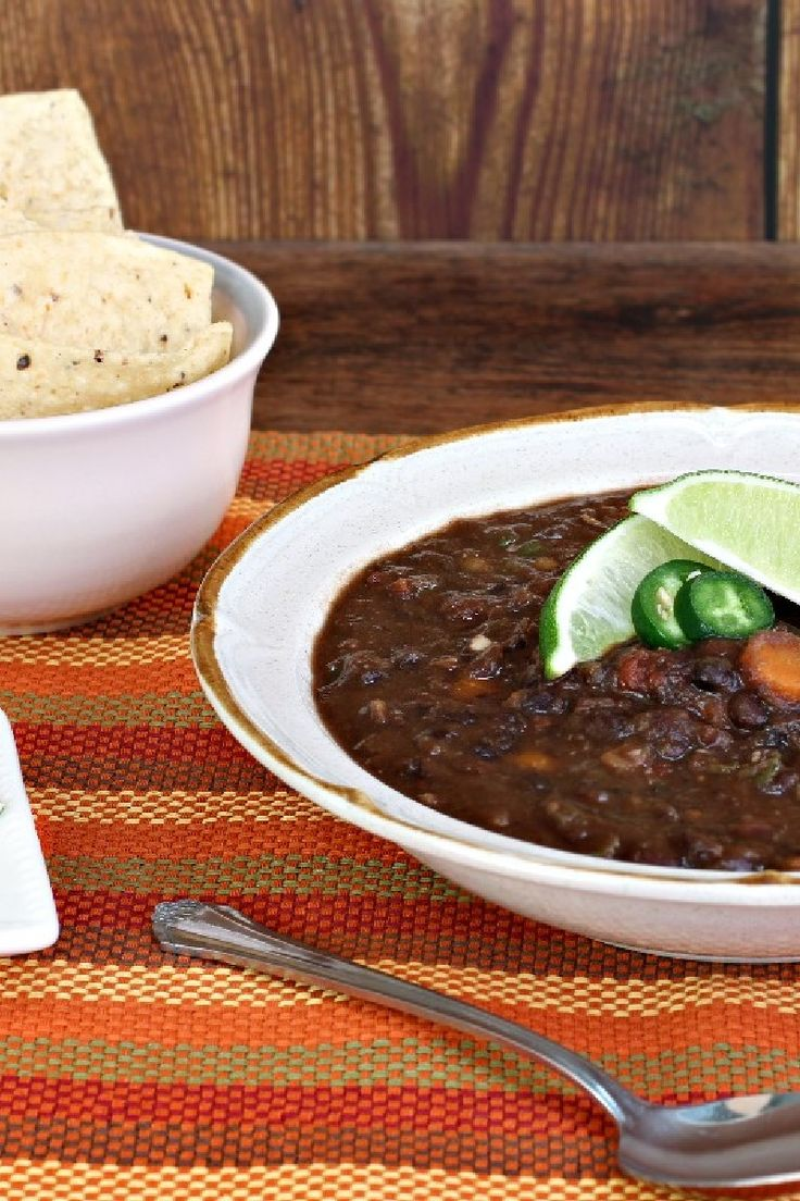 Spicy Black Bean #Soup with Cumin and Jalapeno #Recipe