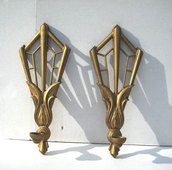 Pr Art Deco Style Wall Candle Sconces Gilt Metal Large Theatrical Cir?