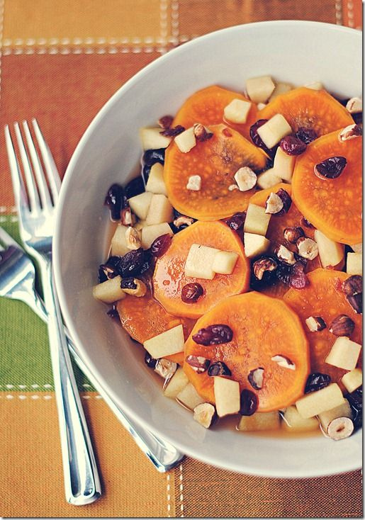 Sweet Potato & Cranberry Saute - simmered in apple cider and garnished ...