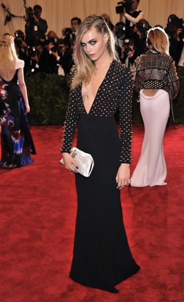 Cara Delevingne punk style in Burberry at the Met Gala 2013
