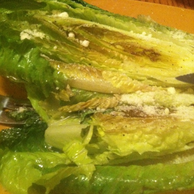 Grilled romaine lettuce with a little olive oil, salt, pepper and ...
