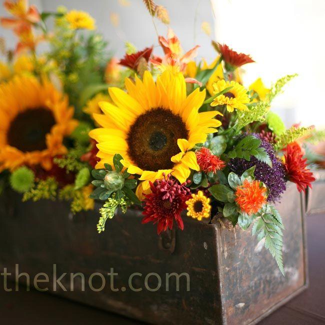 Rustic sunflower centerpiece flower arrangements pinterest