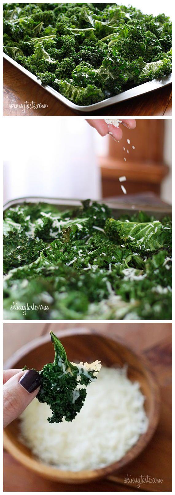 toptenlook: Baked Parmesan Kale Chips | Foodie | Pinterest