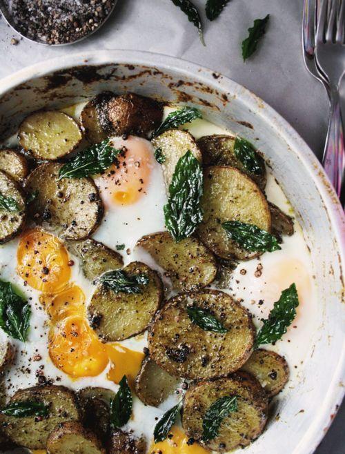 pesto, potatoes and eggs