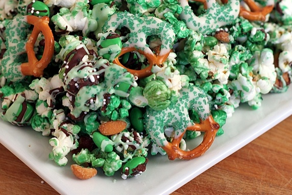 Popcorn & Pretzel party mix (change the colors for any holiday)